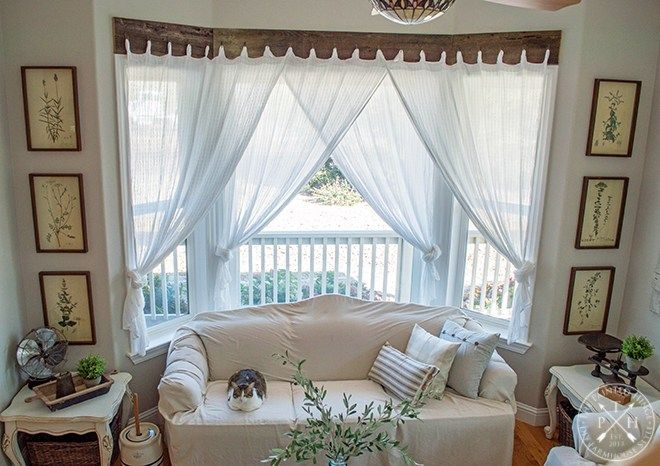 Farmhouse Window Treatments With Reclaimed Wood Window Treatments Living Room Bay Window Living Room Curtains Living Room
