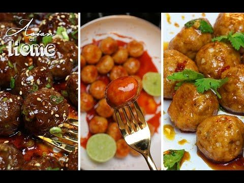 Asian at Home | Asian Meatballs 3 Ways! - YouTube