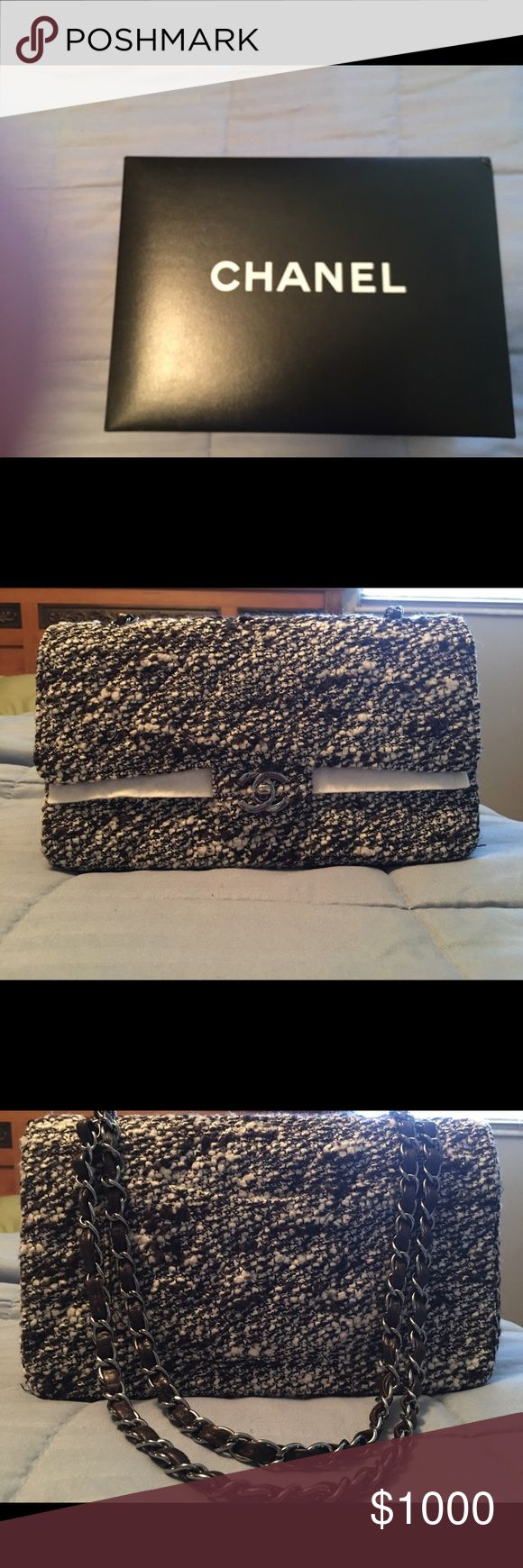 Chanel Double Flap Tweed Bag I have a brand new vintage Chanel double flap Tweed bag in cream and chocolate. The bag is gorgeous. It is the classic 6.25 Tweed bag. CHANEL Bags Shoulder Bags