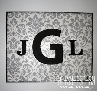 Monogrammed Canvas! Mod Podge tissue paper to canvas and adhere painted wooden letters. #Crafts