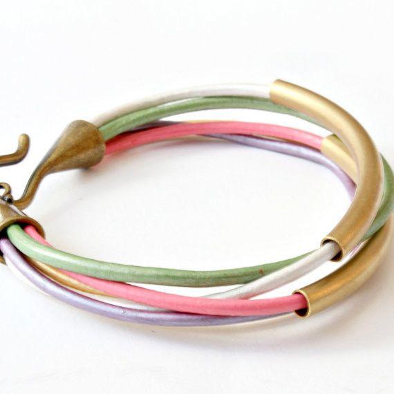 Pastel Leather and Tube Bangle Wrap Bracelet