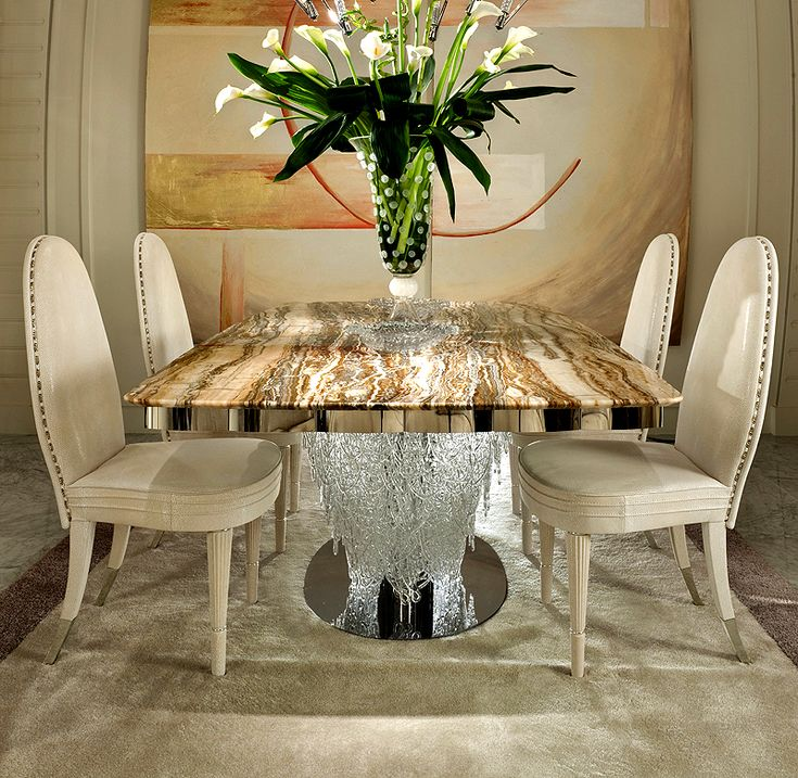 Designer Onyx Dining Table With Italian Murano Glass Pendant Base On A  Polished Steel Base And Detailing.