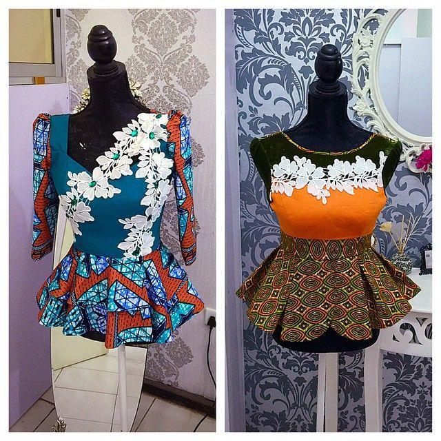 Pretty Ankara tops, Same lace appliqués used in different ways...... I'll…