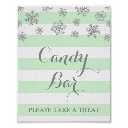 Candy Bar Sign Mint Stripes Silver Snow - winter bridal shower gifts wedding diy ideas