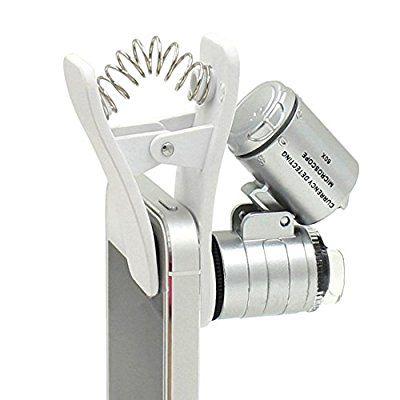 1pcs Universal 3LEDs Clip lente de cámara del telescopio del zumbido del teléfono móvil lupa del microscopio 60X óptico de la lente micro