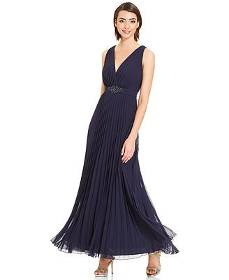Xscape Sleeveless Pleated Embellished Gown Macys 144 Size 12 And 14 Social Dressesembellished Beltformal Gownswedding