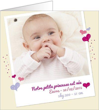 Faire-part de naissance fille : Personnalisez votre faire-part de naissance avec vos photos et votre texte. Choisissez vos accessoires, votre papier, vos enveloppes. Recevez vos cartes chez vous ou expédiez ou expédiez-les directement chez vos proches. Cartes à partir de 0.62€ selon format. Retrouvez cette carte ici : http://www.popcarte.com/cartes-flash/carte-naissance/polaroid-naissance-fille-beige.html