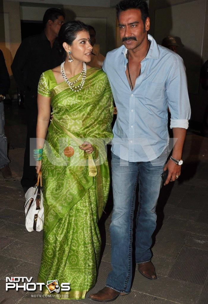 Such a bright saree ..loved this color on Kajol
