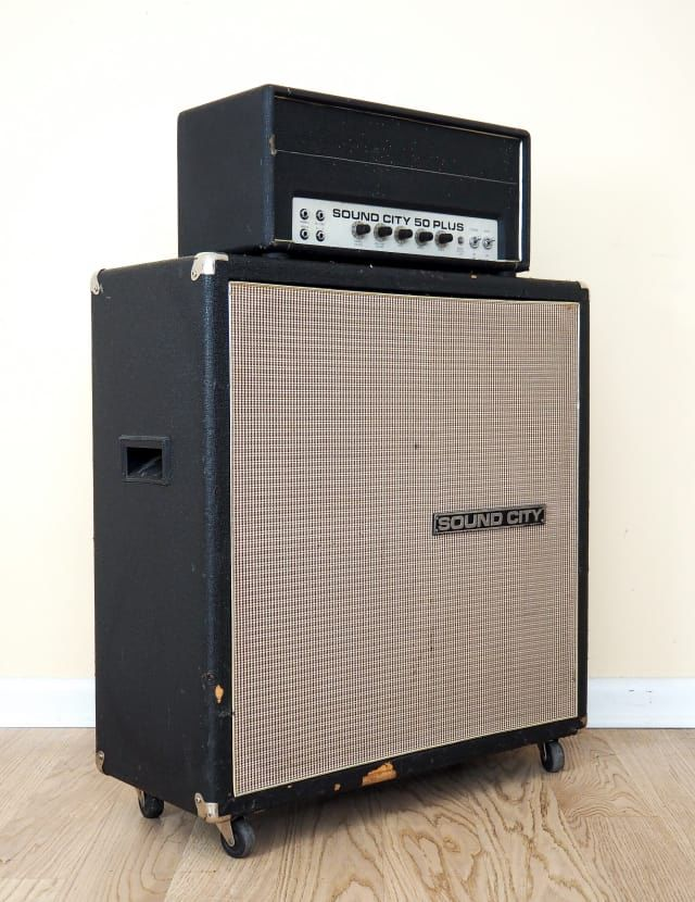 1970s Sound City 50 Plus Tube Amp Head 4x12 Speaker Cab Dallas