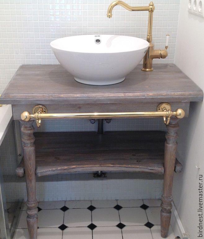 Купить Консоль из темного дерева - консоль, консольный столик, консоль под раковину, консоль в ванную