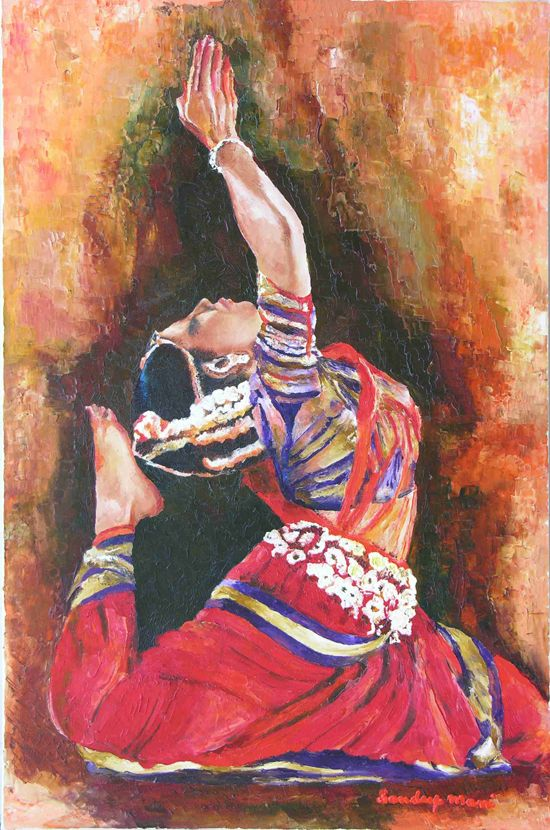 Odissi dance paintings -  by Sandeep Mani