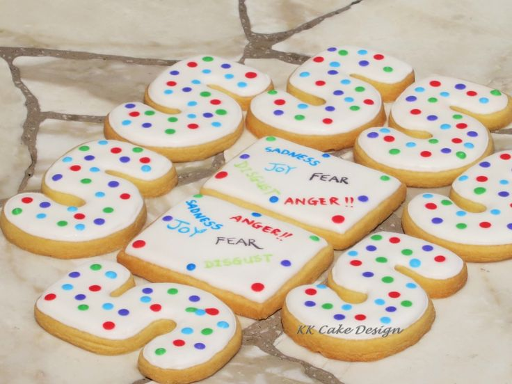 Rainbow polka dot vanilla cookies inspired by the movie Inside Out