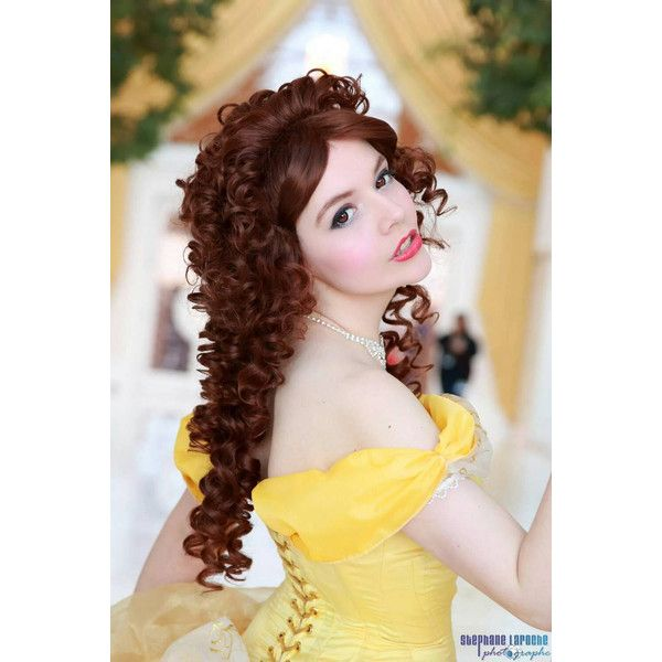 Belle Beauty Disney Inspired Party Princess Cosplay Costume Wig ($125) ❤ liked on Polyvore featuring costumes, belle costume, role play costumes, wigs costume, belle halloween costume and princess belle halloween costume