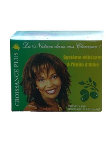 Systeme défrisant à l'huile d'olive de Croissance Plus   Particulièrement doux pour les cheveux secs et non irritants pour le cuir chevelu, le système défrisant à l'huile d'olive défrise efficacement et préserve l'équilibre naturel du cheveu.   Les principes actifs de l'huile d'olive dans ce défrisant sans soude accentuent la brillance, la souplesse et la légèreté de la chevelure.   Convient à toutes les textures.