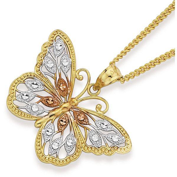 9ct Gold Tri Tone Filigree Butterfly Pendant