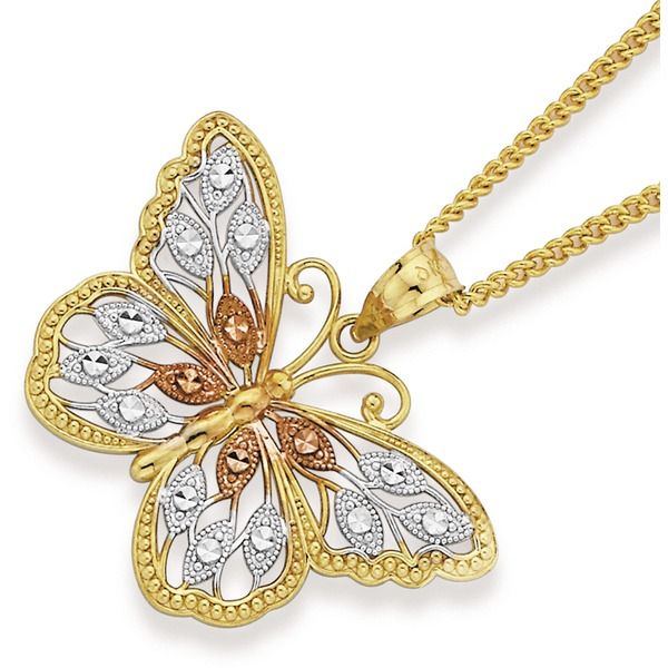 9ct Gold Tri Tone Filigree Butterfly Pendant