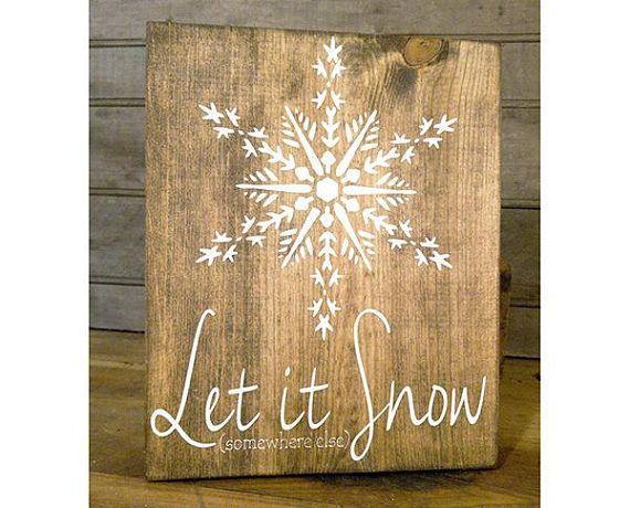 Snowflake Sign Wood Mantel Decor Let It Snow Wood Sign Farmhouse Decor Snowing Snowflake Decor Winter Decor Winter Wonderland