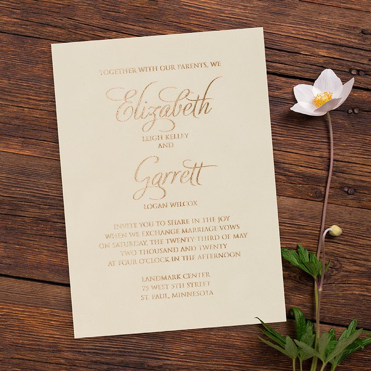 marriage invitation from bride and groom wording%0A Soft cr  me velvet and elegant foil make the perfect invitation for a couple  looking to have  Gold Wedding