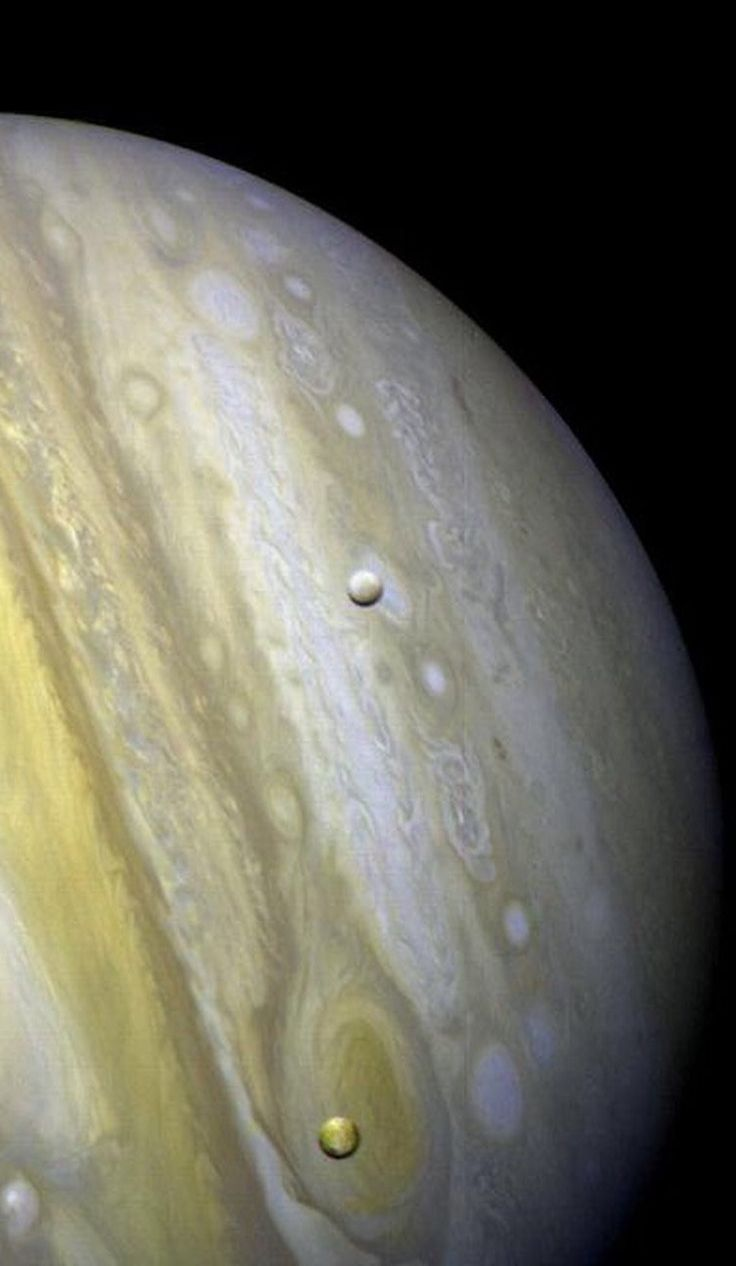 "thedemon-hauntedworld: ""Jupiter with Satellites Io and Europa Credit: NASA """