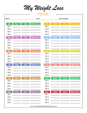Bright and colorful, this annual weight loss tracker has space for weight at the start and end of every week for one year, with each month set in a different color. Free to download and print #weightlosswebsite