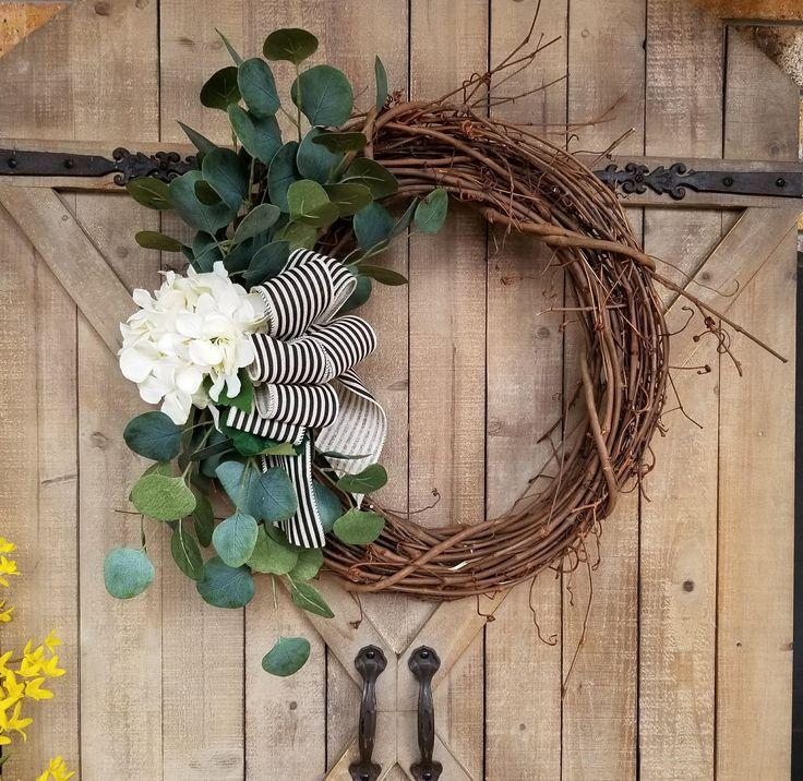 Hydrangea eucalyptus front door wreath, hydrangea, Wreath - Wreath Great for All Year Round - Everyday Wreath, Door Wreath by FarmHouseFloraLs on Etsy
