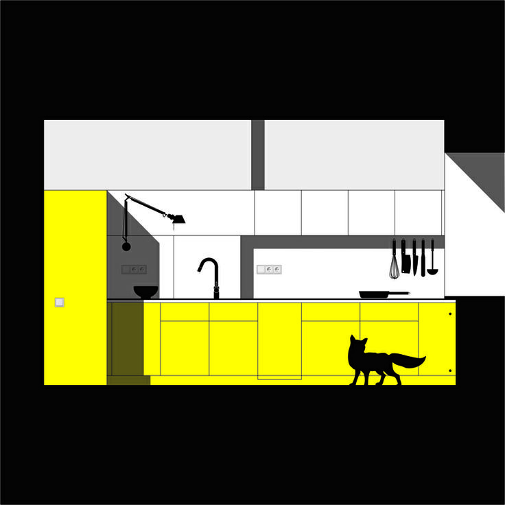 Yellow kitchen in the city apartment #ajj #minimalism #interior #kitchen
