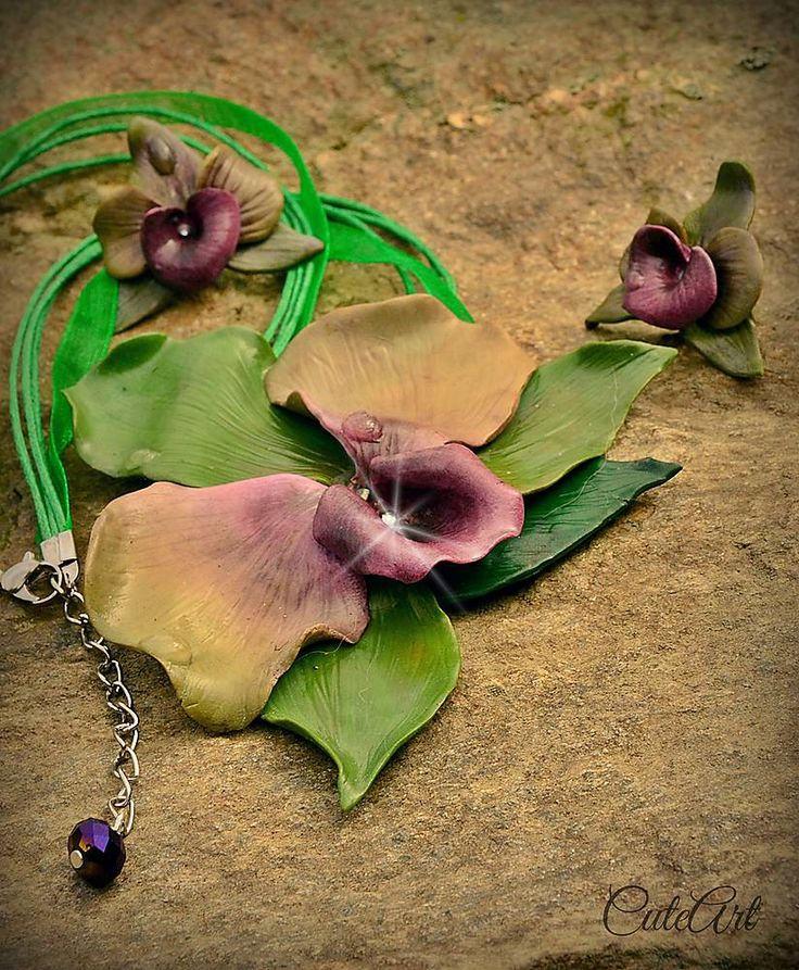 Polymer clay orchid set...