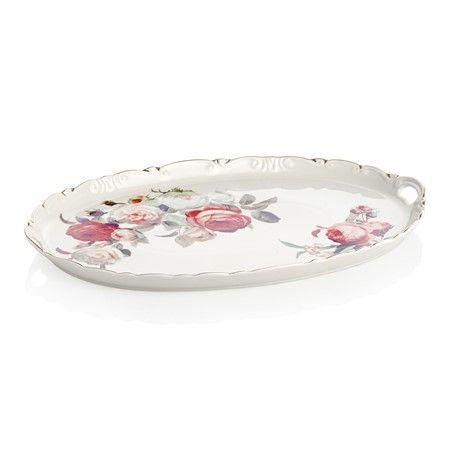 Bernardo Kulplu Tepsi / Tray with Handle #flower #vintage #rose #gul #cicek #home #tabledesign