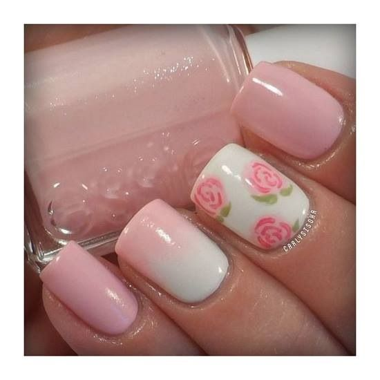 Pastel pink, flowers and even a little ombré going on! Super cute spring nails!
