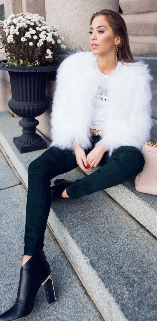 White Faux Fur Jacket On Balmain Tee Fall Street Style Inspo By