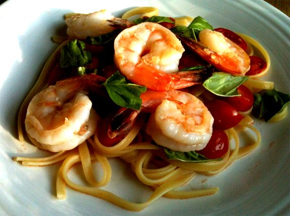 Shrimp And King Crab Fettuccine With Olives And Artichokes