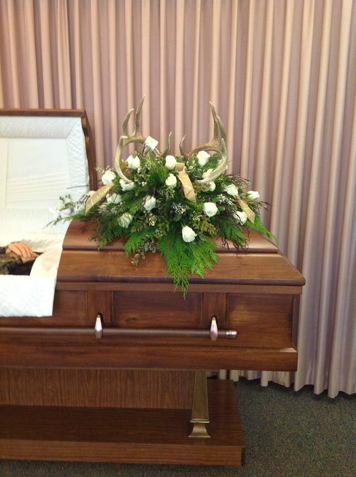 For a long deer hunter. Put a full deer rack in the casket ...