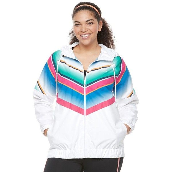 Plus Size FILA Sport® Chevron Windbreaker Jacket ($39) ❤ liked on Polyvore featuring plus size women's fashion, plus size clothing, plus size activewear, plus size activewear jackets, plus size, white, fila, plus size sportswear, fila sportswear and womens plus size activewear