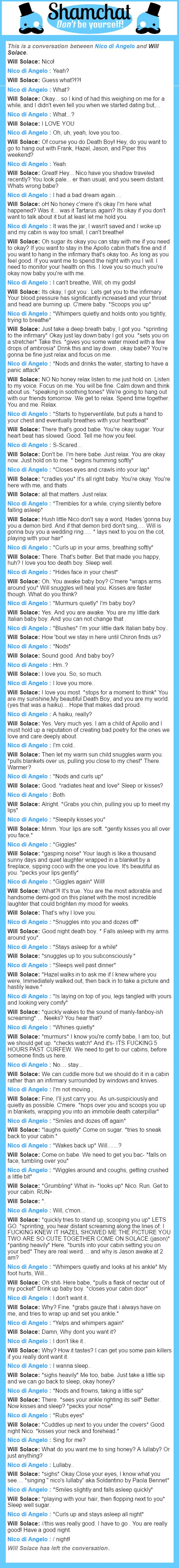 A conversation between Will Solace and Nico di Angelo (I did will)