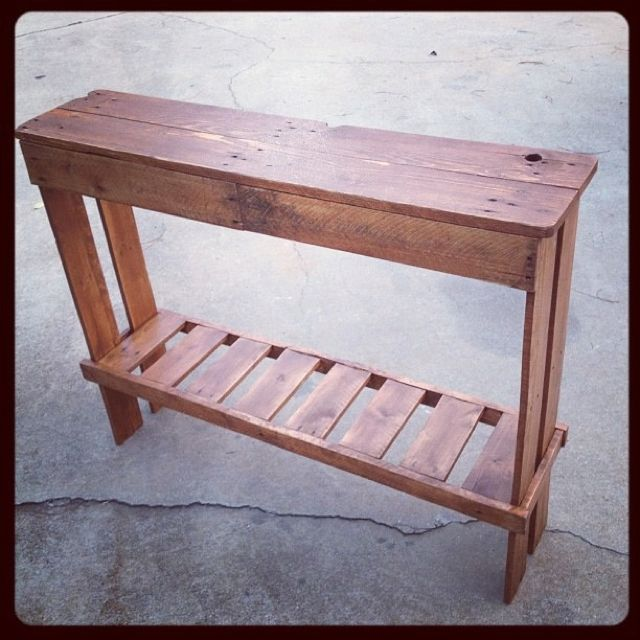Our hall table made from pallets pallet sofa table for Sofa table made from pallets