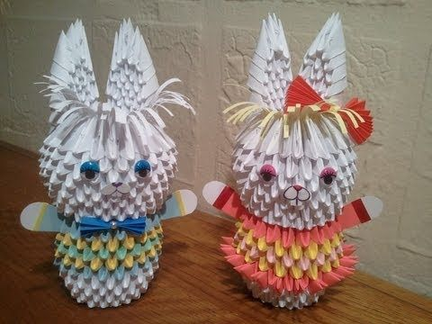 How to make 3D origami Bunny - YouTube