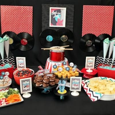 23 best sawyer 39 s rock n 39 roll themed birthday party images on pinterest first birthday parties - Rock and roll theme party decorations ...