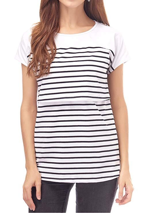 a47595d807f21 Smallshow Women's Maternity Nursing Tops Breastfeeding T-Shirt Small White