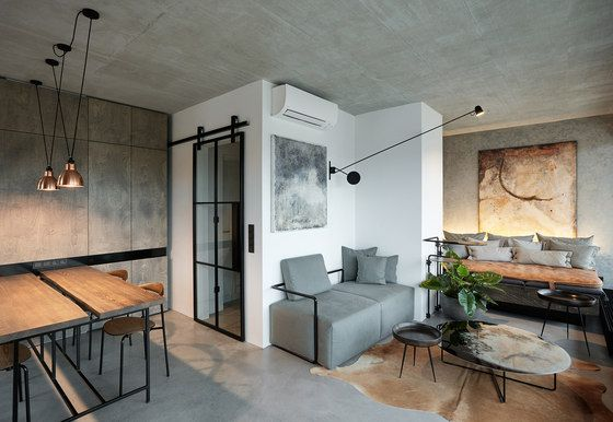 """This flat with industrial taste is located in a new building of so called """"developersproject"""". The architect deal with a complicated layout thanks.."""