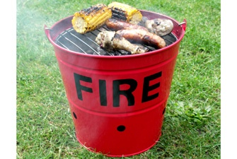 Fire Bucket BBQ - £34.99  Enamelled metal Fire Bucket BBQ - great for taking to the beach or the park, or even just in the back garden. And if it suddenly rains...it's easy to pick up thanks to the wooden handle.