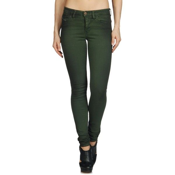 DIESEL Skinzee 0815x Super Skinny (500 BRL) ❤ liked on Polyvore featuring jeans, pants, bottoms, pantalones, doll parts, denim, dusky green, super skinny, women and multi colored skinny jeans