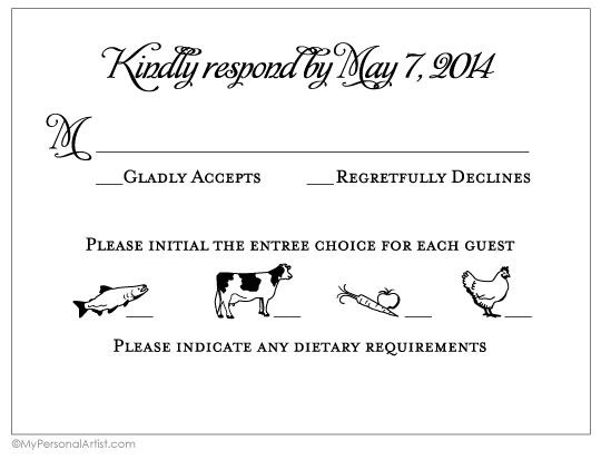 "reply-card-with-food-choice:  I want to find a response card with the ""initial"" instructions. Much easier to read as the bride. Except, no farm animal pictures!"