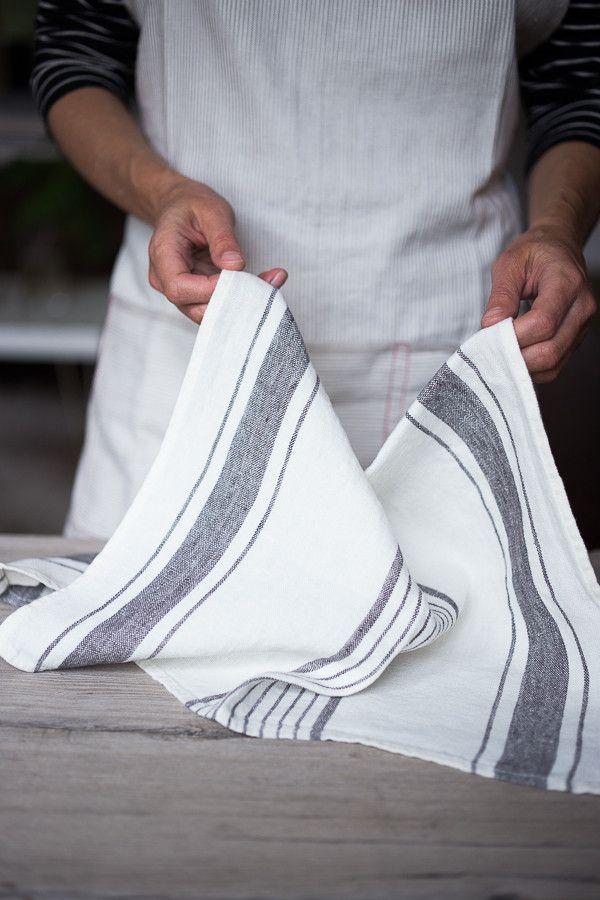 Gray Stripe French Linen Tea Towel