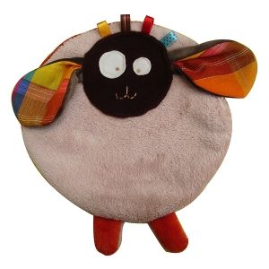 Doudou étiquettes Mouton Beige - Orangé La P'tite Vivie - Doudou artisanal