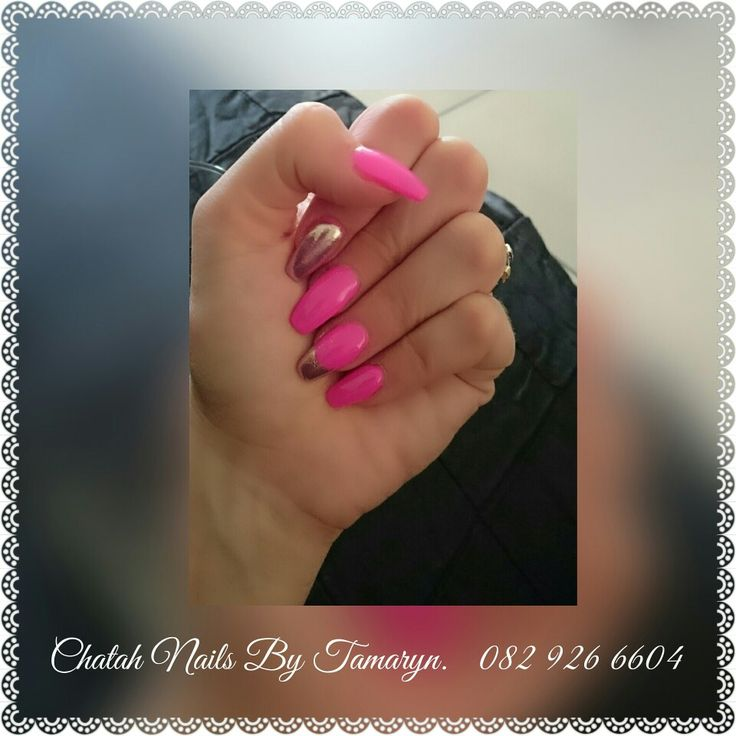 Acrylic.  Bright pink and chrome