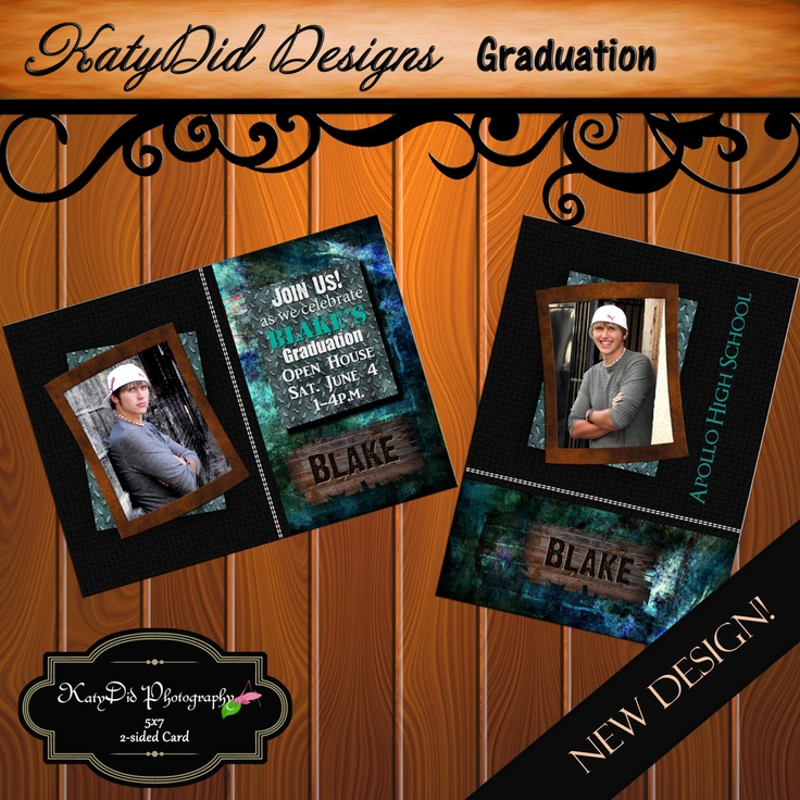 INSTANT DOWNLOAD Black and Blue Mosaic 5x7 Senior Graduation Announcement Templates/PSD files. $3.50, via Etsy.