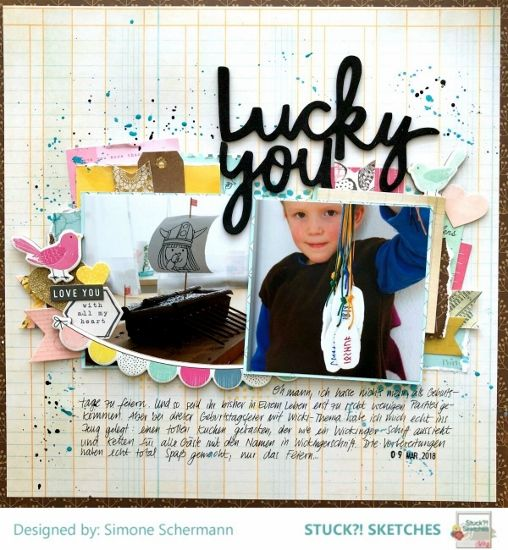 Stuck?! Sketches March 15 2018 sketch challenge DT layout by Simone