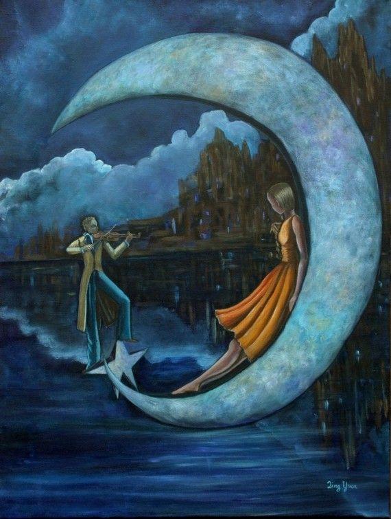 by the moonlightMagic, Moonlight Serenade, Celestial, Moon, Stars, Dreams Illustration, Art Journals, Fantasy Artworks, Blue Moon
