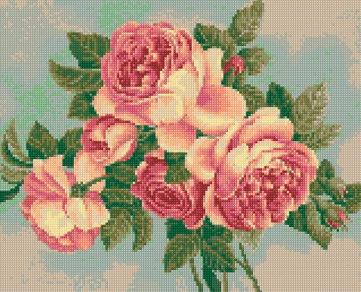 Vintage Roses Cross Stitch pattern PDF - EASY chart with one color per sheet And traditional chart! Two charts in one! by HeritageChart on Etsy