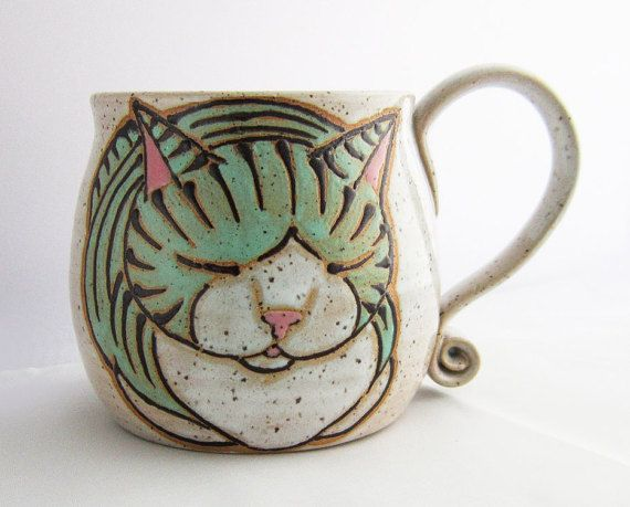 Cat Mug, pottery mug, birthday gift, cat loaf mug, cat art , holds approx 14 oz and is dishwasher and microwave safe.